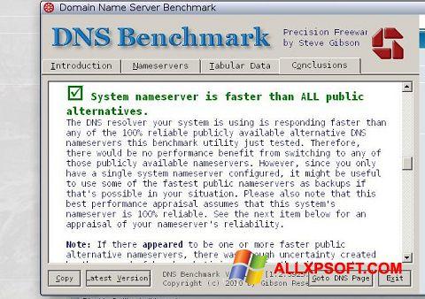 Capture d'écran DNS Benchmark pour Windows XP