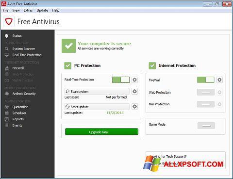 Capture d'écran Avira Free Antivirus pour Windows XP