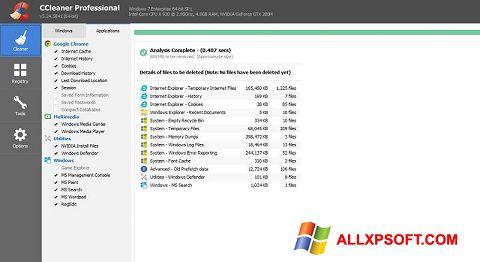 Capture d'écran CCleaner Professional Plus pour Windows XP