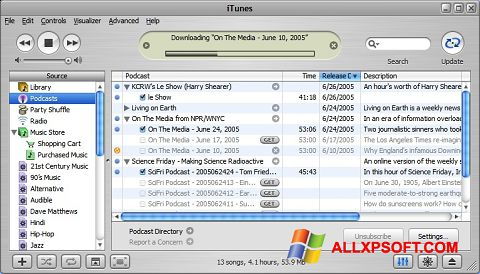 Capture d'écran iTunes pour Windows XP