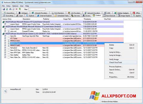 Capture d'écran AutoRuns pour Windows XP