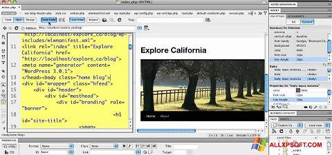 Capture d'écran Adobe Dreamweaver pour Windows XP