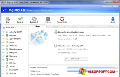 Capture d'écran Vit Registry Fix pour Windows XP