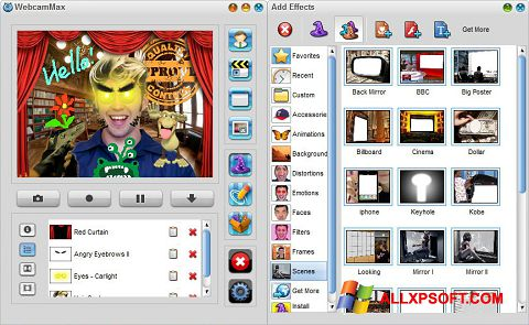 Capture d'écran WebcamMax pour Windows XP