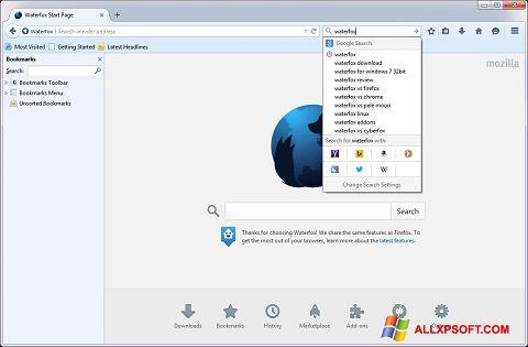 Capture d'écran Waterfox pour Windows XP
