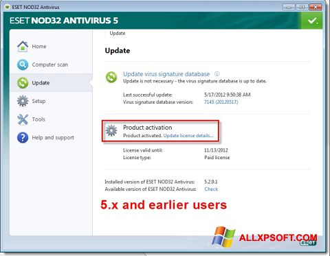 Capture d'écran ESET NOD32 pour Windows XP