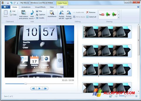 Capture d'écran Windows Live Movie Maker pour Windows XP