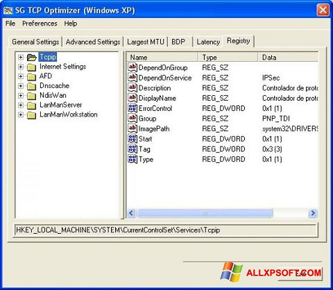 Capture d'écran TCP Optimizer pour Windows XP