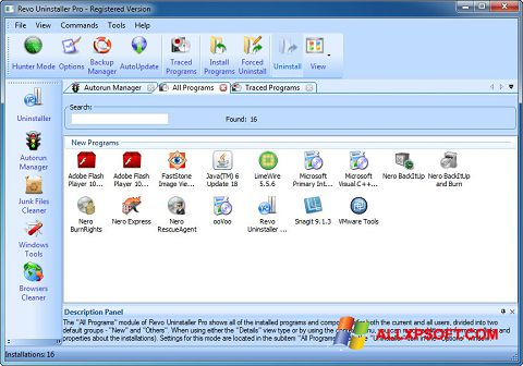 Capture d'écran Revo Uninstaller Pro pour Windows XP